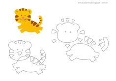 us wp-content uploads 2015 11 how_to_make_a_felt_pattern_tiger.p … - Stofftiere Felt Patterns, Applique Patterns, Felt Diy, Felt Crafts, Sewing Crafts, Sewing Projects, Felt Projects, Felt Fabric, Stuffed Animal Patterns