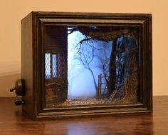 Model Maker Creates Spooky Miniature Scenes Framed Within Shadow Box Dioramas Shadow boxes by Chimerical Reveries Vitrine Miniature, Miniature Rooms, Miniature Houses, Miniature Greenhouse, Shadow Box Kunst, Shadow Box Art, Arte Assemblage, The Art Of Storytelling, Model Maker