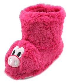 2e0461b7327 Girls 3D Pink Pig Fluffy Faux Fur Novelty Slipper Boots. Heat Treats