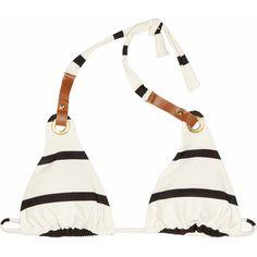Vix Odette striped triangle bikini top (1.054.260 VND) ❤ liked on Polyvore featuring swimwear, bikinis, bikini tops, swimsuits, bathing suits, swim, triangle bikinis, halter top swimsuit, swimsuits two piece and swim suits