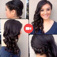one-side braid with curled hair Fancy Hairstyles, Wedding Hairstyles, Side Hairstyles, Wedding Hair And Makeup, Hair Makeup, Makeup Geek, Makeup Kit, Eyeshadow Makeup, Eyeshadow Palette