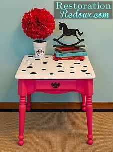 Pink Polka-dot Table - (so cute!)