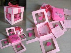 Valentine's special explosion box by Sheetal Khajure- Arty Hearty Diy Crafts Hacks, Diy Crafts For Gifts, Paper Crafts, Diy Gift Box, Diy Box, Valentine Special, Valentines, Exploding Gift Box, Diy Birthday