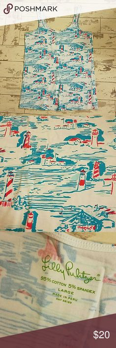Lilly Pulitzer Tan Top Lighthouse pattern in blue and pink. Worn once. In great condition. Lilly Pulitzer Tops Tank Tops