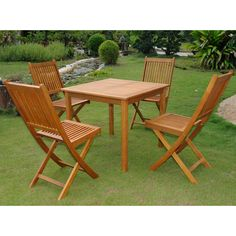 Use this five-piece outdoor dining set to entertain family and guests on the patio. This set features one square table with a slatted design on the top and four matching folding chairs. This weather-resistant set is made out of yellow Balau hardwood.