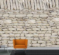 Papier peint mur pierres blanches