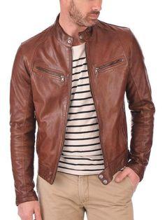 New Mens Genuine Lambskin Leather Slim Fit Biker Motorcycle Jacket for Men P025