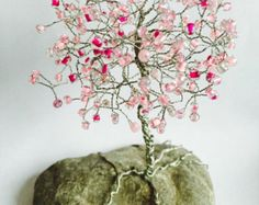 Cherry blossom Wire Tree Sculpture / Windchime by illustrisdesigns