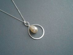 Infinity Necklace Sterling Silver Necklace With Cream by casamoda, $29.00