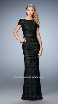 Gorgeous lace evening dress with off the shoulder cap sleeves and shimmery gold lining.    Black/Nude Dress Style 23012 | La Femme