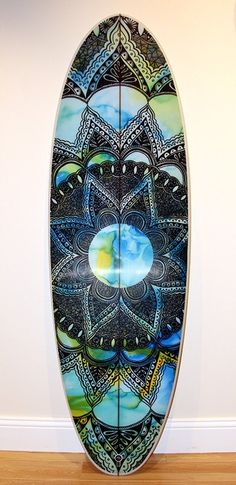 Mandala 1 Surfboard by Felicity Palmateer