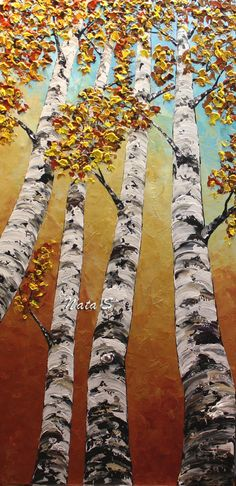 Birch Tree Art Painting Abstract Contemporary Heavy Textured Painting.Impasto.Palette Knife.Home Office Wall Decor 48""