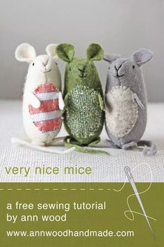 nice mice : pattern and instructions (and it's free!) – ann wood handmadevery nice mice : pattern and instructions (and it's free!) – ann wood handmade One Hour Quick Sewing Projects Tilda's Seasonal Ideas Collection Sewing Projects For Beginners, Sewing Tutorials, Sewing Crafts, Sewing Tips, Fabric Birds, Fabric Scraps, Free Sewing, Knitting Patterns Free, Felt Patterns Free