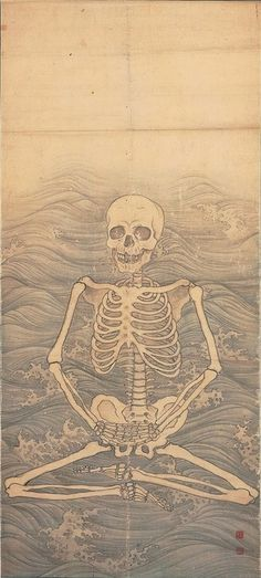 MARUYAMA Okyo, Skeleton Performing Zazen on Waves, c.1787 Japan