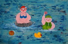 Houten schilderij met Dikke Dames sportief in het zwembad www.ingeoosterhuis.nl
