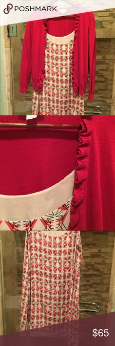 Beautiful CAbi dress and red cardigan. This dress is so comfy and cute, and I'm including a ruffled cardigan from Loft that coordinates well. It can also layer like a long tunic over leggings or skinny jeans :) CAbi Dresses Midi