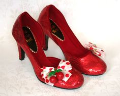 Cherry Bombshell - Burlesque Cherry Embellished Ruby Slippers