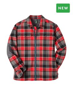 """Men's Buckhorn Jacket - This 100% cotton bonded flannel shirt with a polyester microfleece backer insulates against a cool fall/winter chill. Fondly referred to as the """"shop shirt"""" at Stiop HQ, the Pertex® Microlight Minirip Nylon toughens up the elbows and undersides of the cuff and custom-engraved metal snaps adorn the chest pockets and cuffs."""