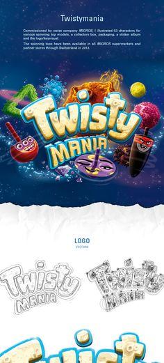 Twistymania by Andreas Krapf, via Behance - Graphic Sonic Bg Design, Game Logo Design, Graphic Design, Game Font, Game Ui, Logos, Logo Branding, Cartoon Logo, 3d Typography