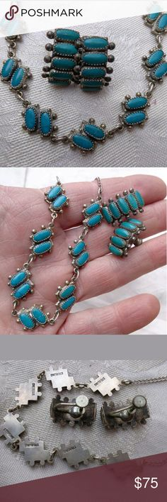 Vintage Sterling turquoise Earrings Necklace Matching set. Yes for this price you get the necklace and the earrings to match. These are sterling silver and they are signed as you will see in the third picture. There is a hairline fracture that does not go all the way through and you really have to look for it to find it. Priced accordingly Vintage  Jewelry