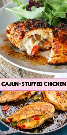 Cajun chicken is here to spice up your weeknight dinner. Filled with peppers and cheese and seasoned with lots Cajun spices this chicken is anything but boring.