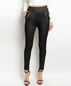 High+Waisted+Faux+Leather+Pocket+Skinny+Leg+Jegging
