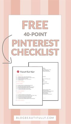 Click through to download your FREE 40-point checklist for Pinterest Perfection! Tips for growing your followers, re-pins, and traffic today.