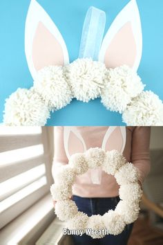 Create these beautiful and fun yarn pom poms bunny wreath in under a half hour. - Create these beautiful and fun yarn pom poms bunny wreath in under a half hour. This easy wreath i - Easter Projects, Bunny Crafts, Easter Crafts For Kids, Easter Dyi, Diy Party Crafts, Yarn Crafts For Kids, Baby Diy Projects, Easy Craft Projects, Easy Diy Crafts