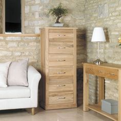 Mobel Solid Oak Tallboy Cabinet (6 Drawer) -  - Chest Of Drawers - Baumhaus - Space & Shape - 1