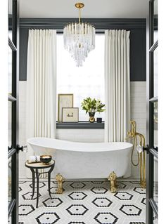 Tasteful Bathroom with Gold Accents