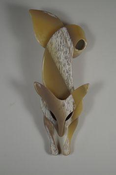 Lea Stein Vintage Fox Brooch by cocotteminute on Etsy