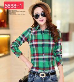 eea7e37c7a5 Korean Fashion Women Long Sleeve Plaid Turndown Neck Fitted Blouse  Flannels