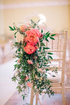 Coral Peony Flower Chair Back Decor | Timeless Wedding Assembly Rooms in Bath | M and J Photography.