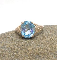 Topaz Genuine Swiss Blue Gemstone Sterling Silver Ring December Birthstone by jewelrybymatt on Etsy
