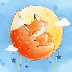 Pequeño zorro durmiendo en su cola