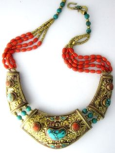Tibetan Ethnic Tribal Necklace, handcrafted in Nepal - Turquoise, Brass and Red Coral mosaic