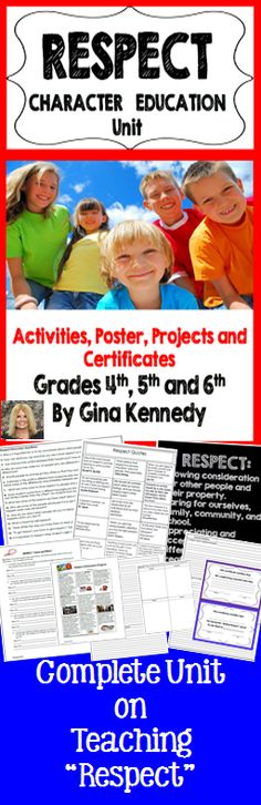 """Complete """"Respect"""" Unit for upper elementary students. Respect is a character trait that needs to be revisited throughout the school year, this is a complete """"Respect Unit"""" with fun, engaging activities, lessons, and projects on teaching respect and making choices. From quotes to real life student examples, this unit will grasp your student's attention. Great for any character education curriculum, teacher or counselor!"""