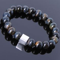 Mixed Blue Tiger Eye Sterling Silver Cube Bracelet Mens Women DIY-KAREN 688 #Handmade #Beaded