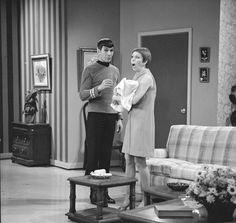 Comedienne and actress Carol Burnett (right) is shocked by actor Leonard Nimoy, in costume as the well-known character Mr. Spock from the Star Trek series', during a skit on The Carol Burnett Show,. Star Trek Spock, Star Wars, Star Trek Tos, Dr Spock, Star Trek Original, Leonard Nimoy, Star Trek 1966, Star Trek Series, Tv Series