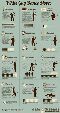 White Guy Dance Moves - Infographic Thanks Susanne.I will pass this on to T! Guy Dancing, Information Graphics, Lets Dance, Running Man, Humor, Data Visualization, Make Me Smile, I Laughed, Laughter