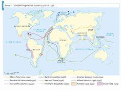 Dit is een goed voorbeeld van waar veel ontdekkingsreizigers die we genoemd hebben naar toe zijn gereisd tussen 1272 en 1597. Je kan zien dat de meeste uit Spanje komen, maar dat ze toch andere gebieden of continenten hebben ontdekt.