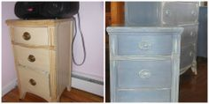A before and after shot...of a piece that I did...using Annie Sloan Chalk Paints..this is a commissioned piece