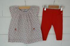 Robe évasée en coton imprimé marine et rouge Petit Bateau - 3M
