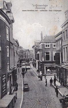 Denneweg vanaf Vos in Tuinstraat met passeerspoor tram 1, ca. 1908