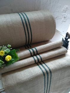 Your place to buy and sell all things handmade Hemp Fabric, Linen Fabric, Rustic Stairs, Making A Bench, Tear, Grain Sack, Weaving Techniques, Green Stripes, Slipcovers