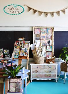 upcycle old dresser for storing papers, old frame with chicken wire holds post cards. Studio Tour!! - Kelly Rae Roberts