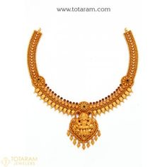 22K Gold 'Lakshmi' Necklace with Beads (Temple Jewellery) - 235-GN3274 - Buy this Latest Indian Gold Jewelry Design in 31.950 Grams for a low price of $1,762.99