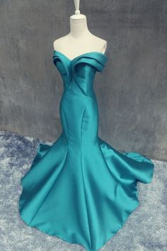 teal prom dress, long prom dress, mermaid prom dress, formal prom dress, off shoulder evening dress, BD29