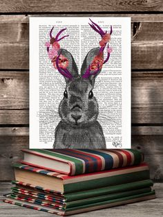 Jackalope with Pink Antlers, recycled vintage Dictionary Page, Wall Art Print wall decor picture wall hanging dorm decor illustration door DottyDictionary op Etsy https://www.etsy.com/nl/listing/178269236/jackalope-with-pink-antlers-recycled