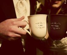 wedding coffee mugs brown and white cups groom decor place setting homespun